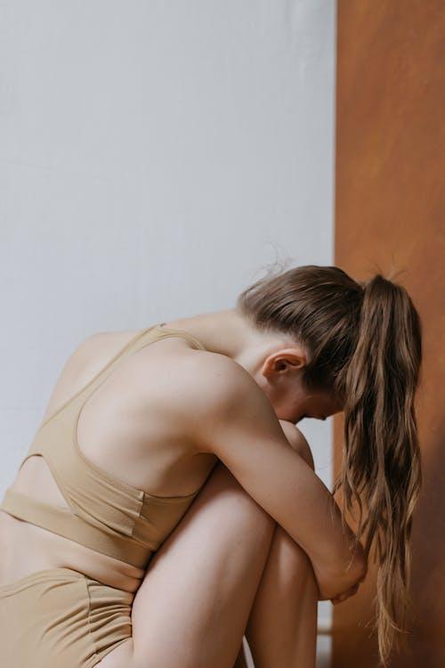 Woman in Beige Underwear