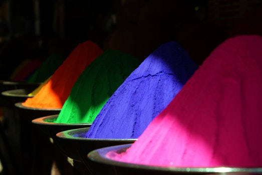 Free stock photo of colorful, colourful, holipulver, colored powder