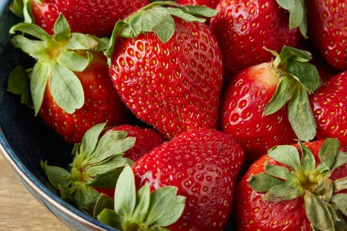 Strawberries in Blue Ceramic Bowl
