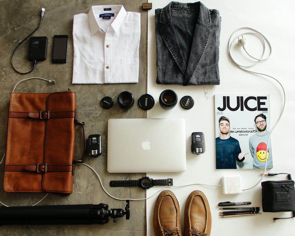 Brown Leather Bag, Clothes, and Macbook