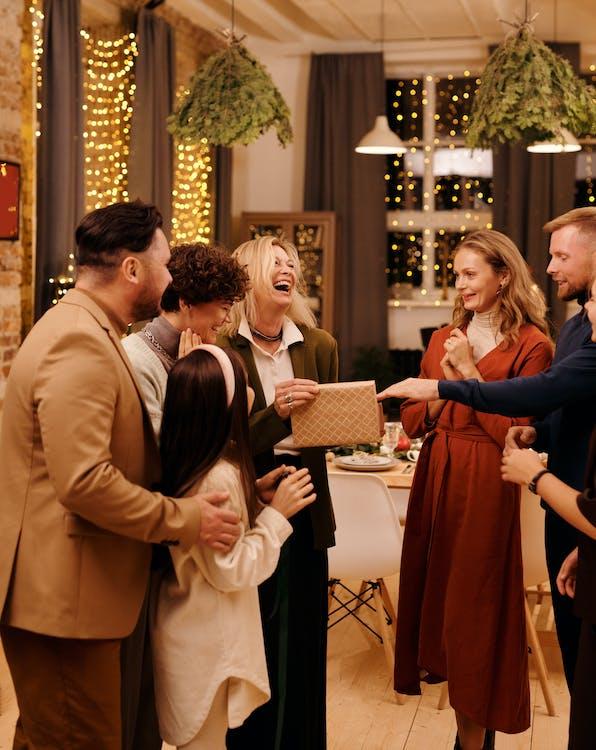 Group Of People Spending Christmas Night