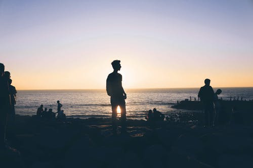 Silhouette of Person at Beach