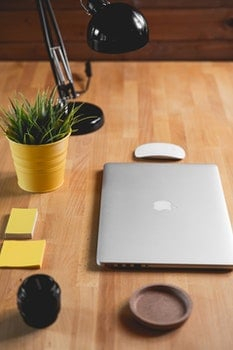 Free stock photo of wood, apple, desk, laptop