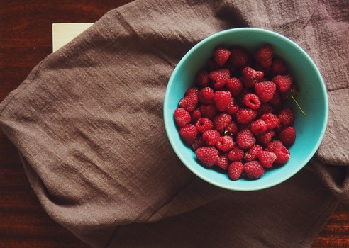 Free stock photo of food, raspberries, bowl, fruit
