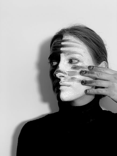 Strange woman with painted face