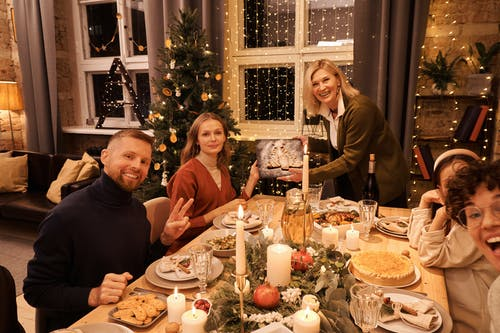 Family Having a Christmas Dinner Together