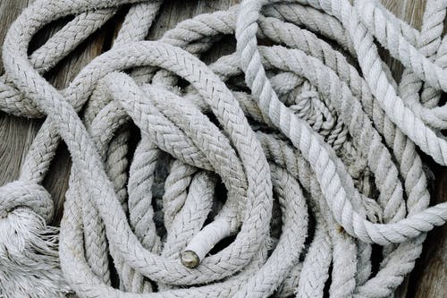 Rope placed on wooden surface