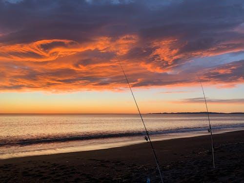 Immagine gratuita di acqua, alba, canna da pesca