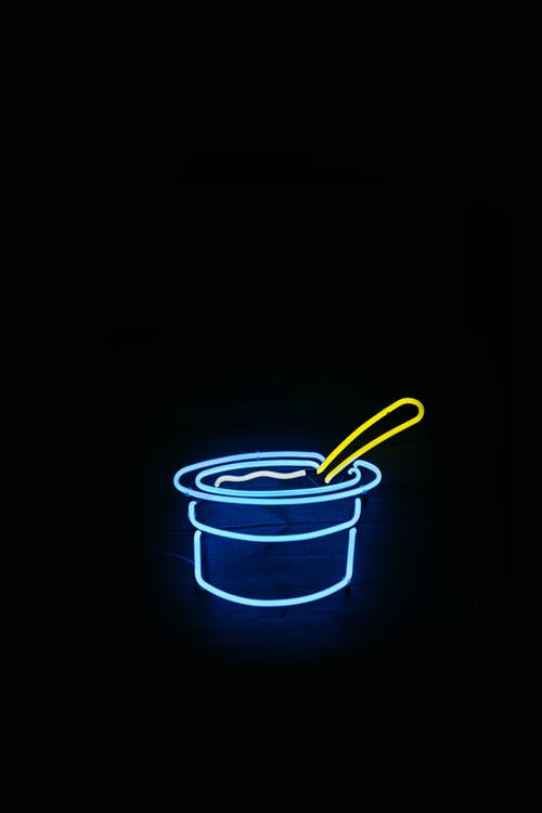 Yogurt Cup with Spoon Neon Sign