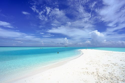 Blue Sky and White Clouds over the Beach
