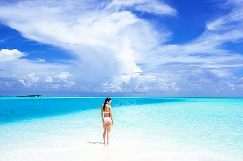 Woman in Blue Bikini Standing on Beach