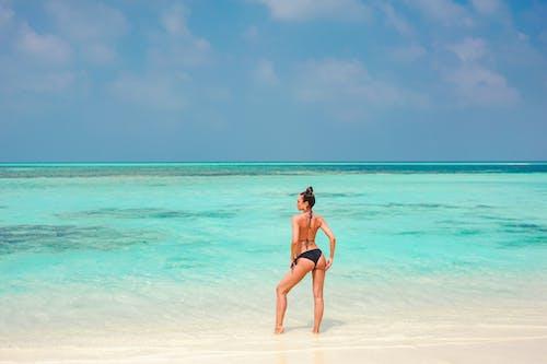 Woman in Black Bikini Standing on Beach