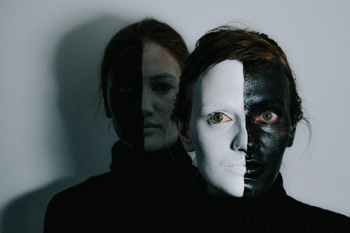 Creepy women with face painted in black and white colors