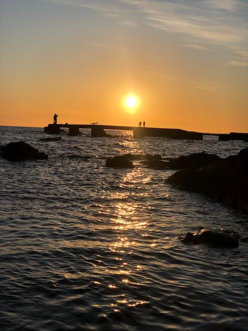 Free stock photo of above ground, above sea, Beautiful sunset