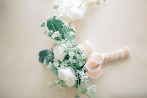 Delicate wedding bouquet of fresh flowers