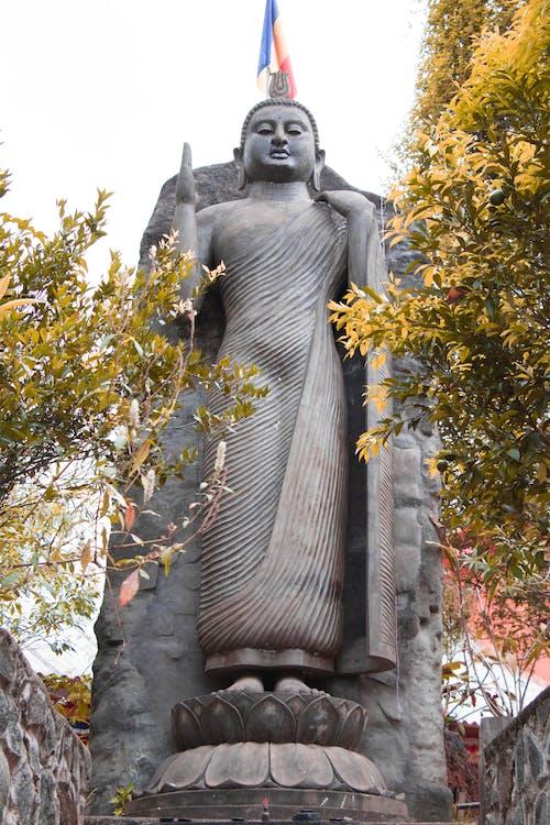 Black Concrete Statue Near Green Trees