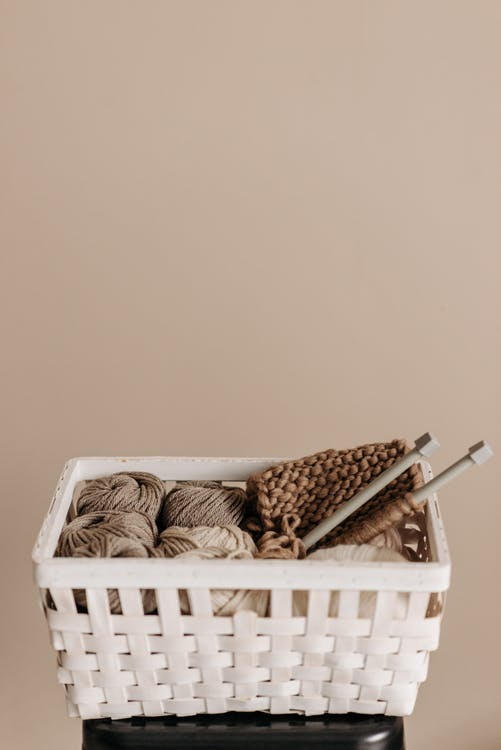 Knitting Materials in a Basket