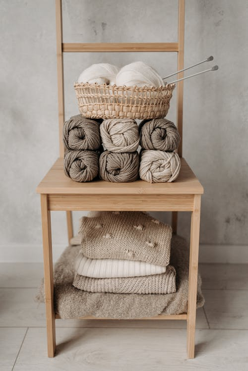 Knitting Materials on a Table