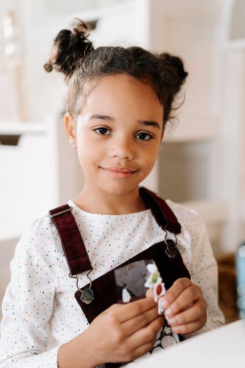 Close Up Shot of Girl Looking at Camera