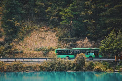 Green and Black Train on Rail Near Body of Water