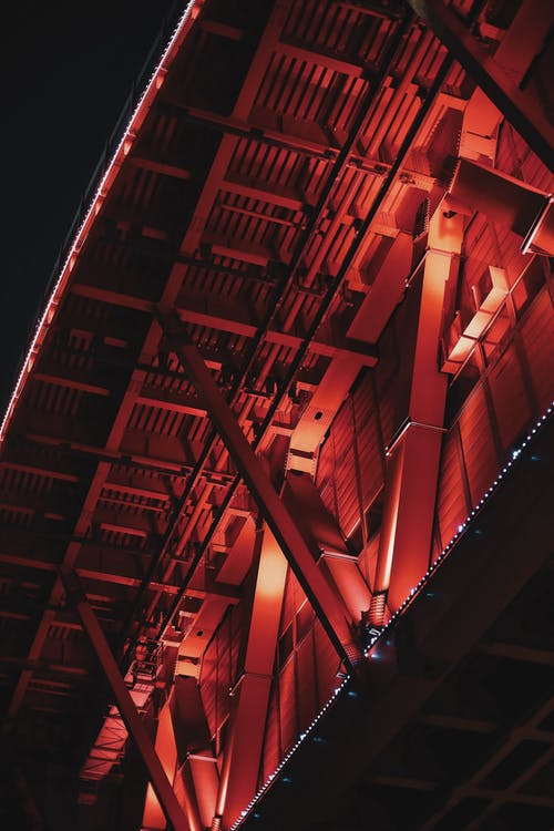 Red and White Lighted Building