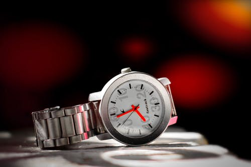 Silver Round Analog Watch
