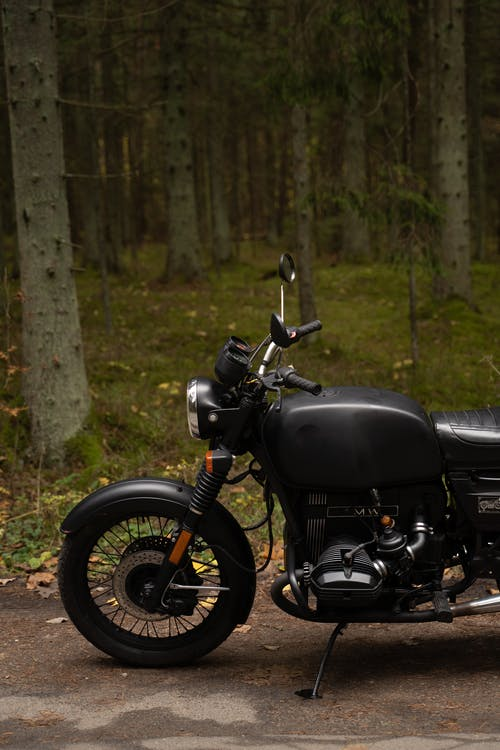 Black Motorcycle Parked on Forest