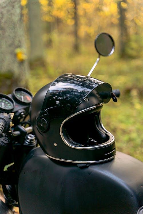 Black Motorcycle Helmet on Motorcycle
