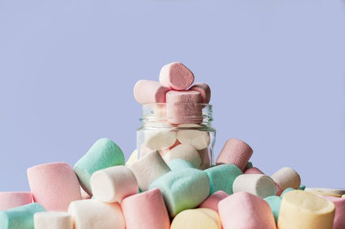 Pink and Teal Heart Shaped Candies
