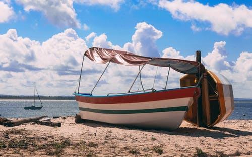 White and Brown Boat on Beach