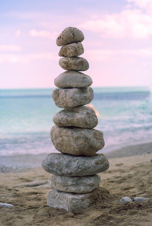 Stack of Stones Near Sea
