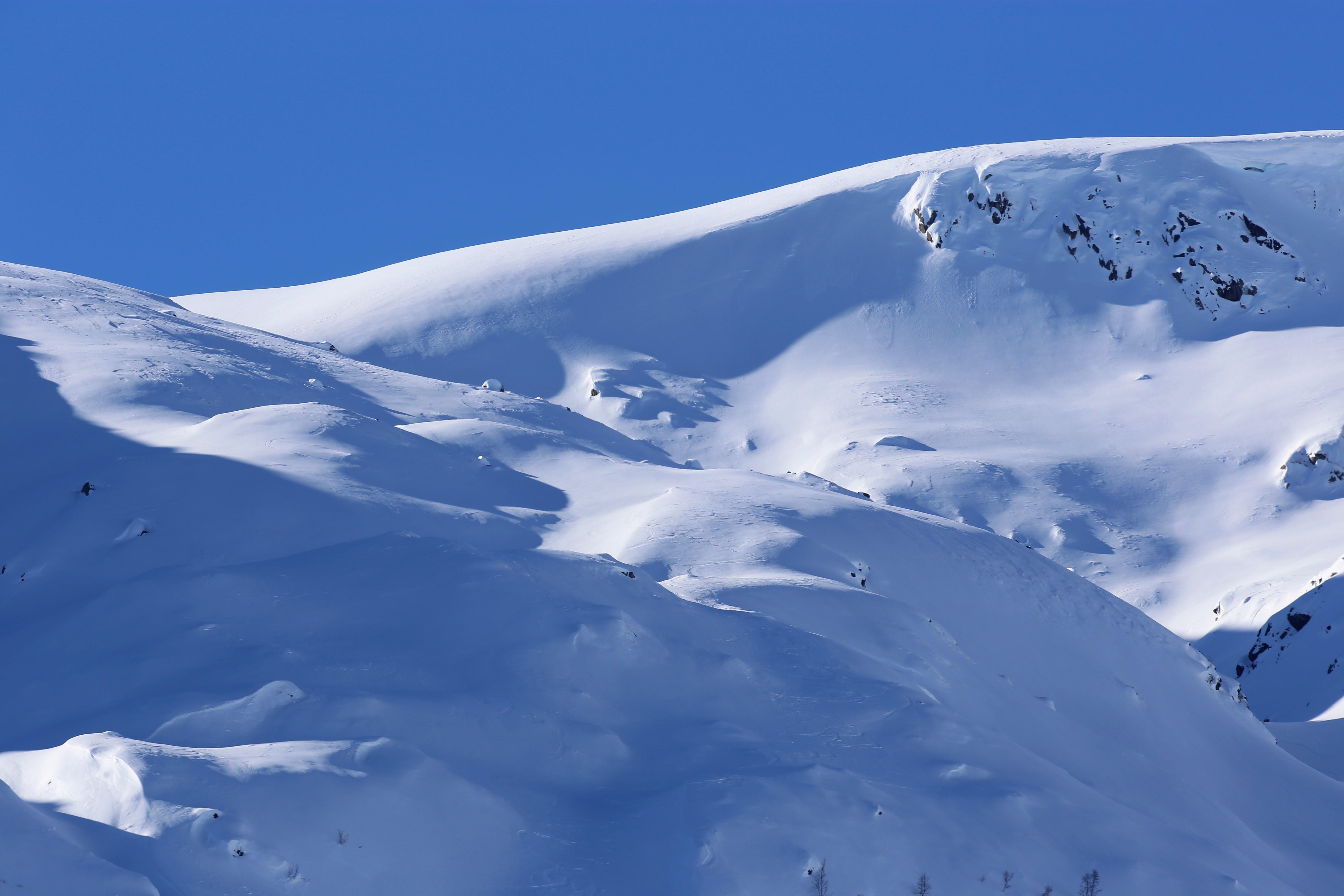 Free stock photo of blue skies, snow, snowy mountain