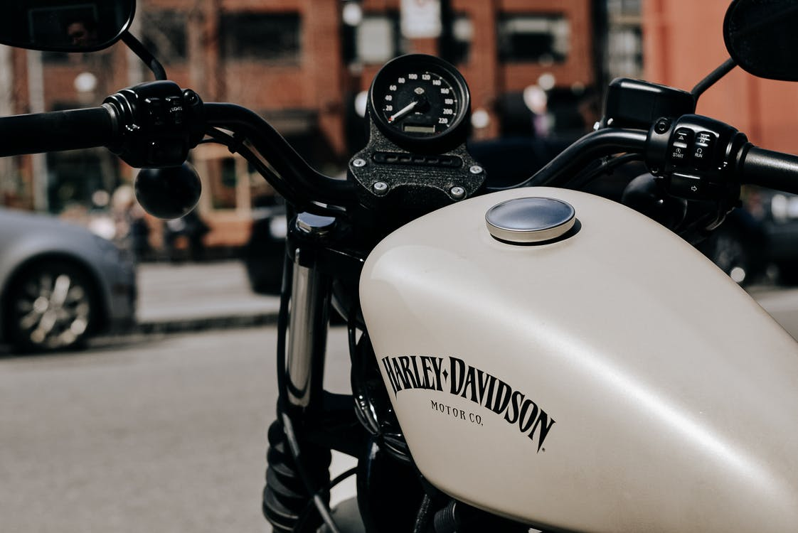 Brutal motorcycle parked on street