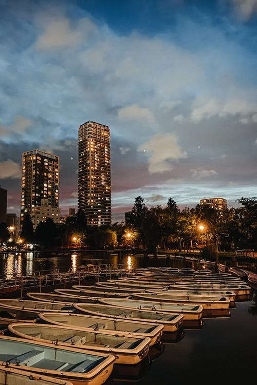 City park with boats and skyscrapers at night