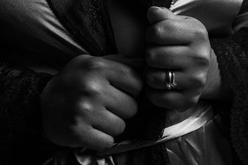 Clenched Fists in Black and White