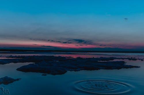 물웅덩이, 보라색, 블루, 일몰의 무료 스톡 사진
