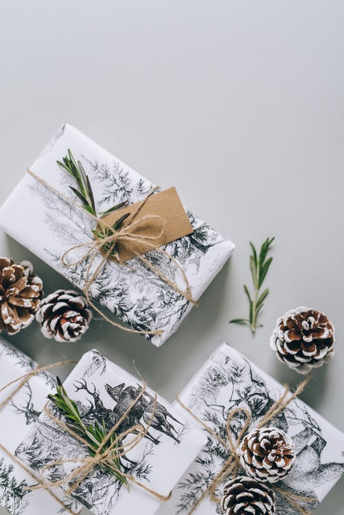 White and Brown Floral Gift Box