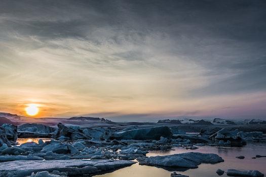 Free stock photo of cold, glacier, sea, dawn