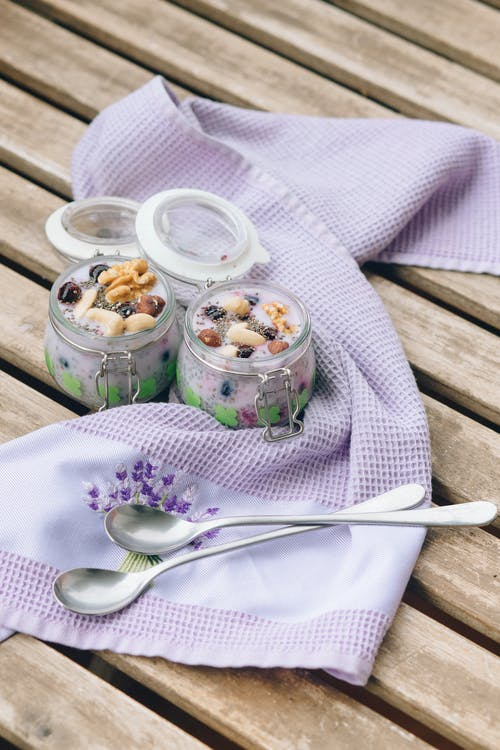 Ice Cream in Clear Glass Cups on White Ceramic Plate