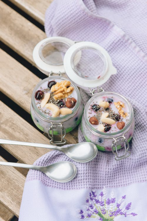 White Cream in Clear Glass Jar