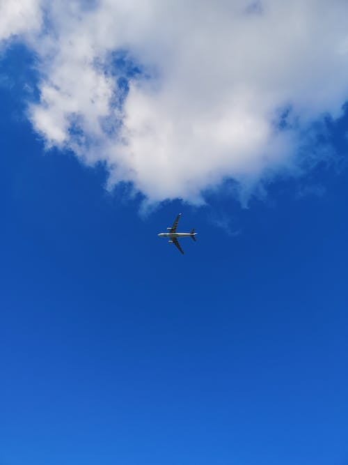 Free stock photo of airplane, clear blue sky, clouds