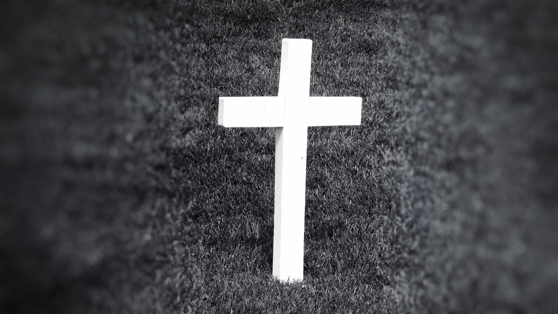 Free stock photo of black-and-white, grass, cross, symbol