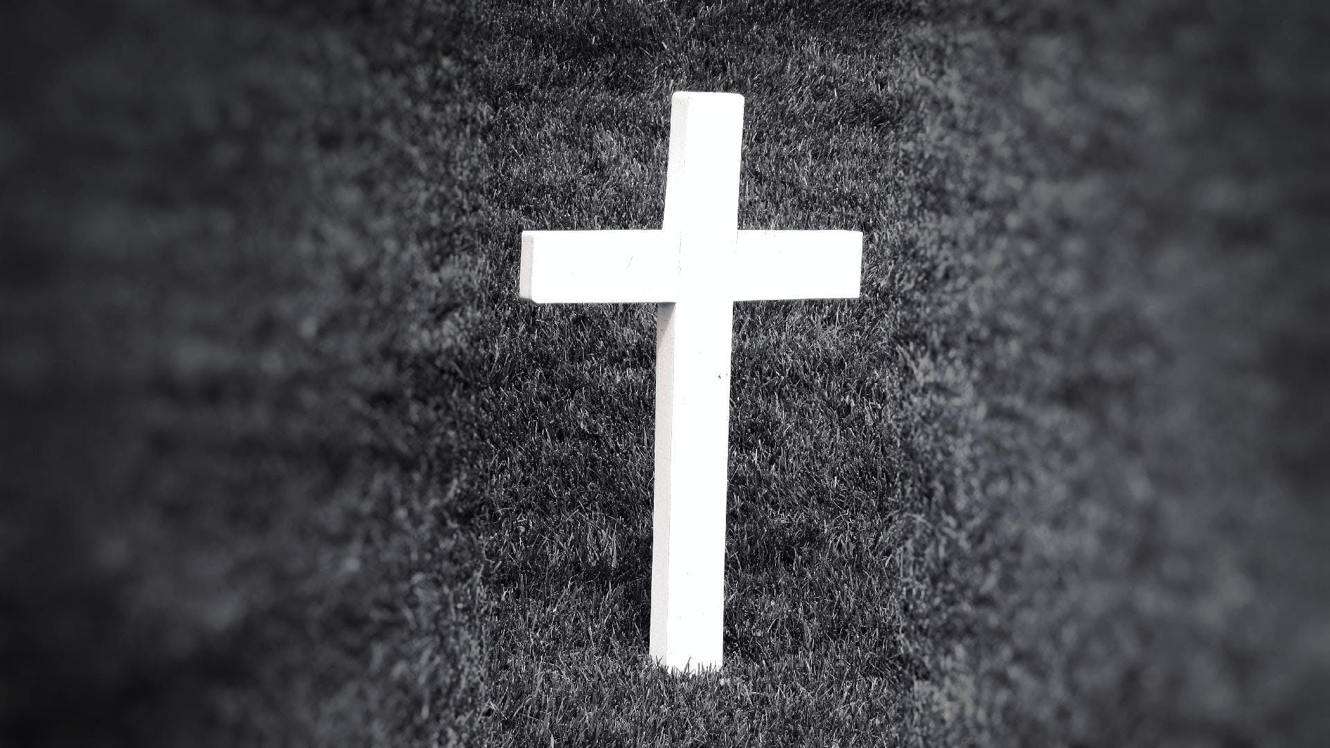 Free stock photo of black-and-white, grass, cross, symbol