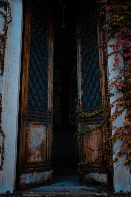 Old opened door at entrance of building