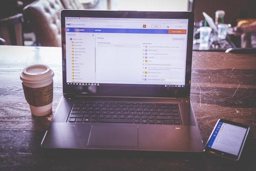 Free stock photo of coffee, apple, iphone, laptop