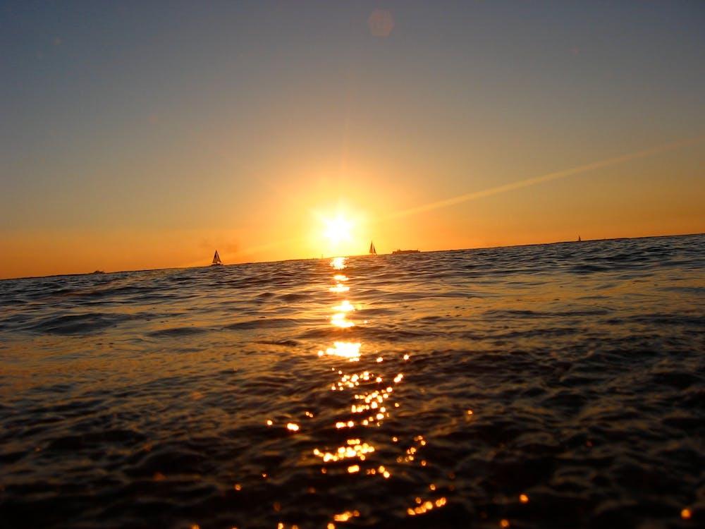 Hoàng hôn, thuyền, đại dương