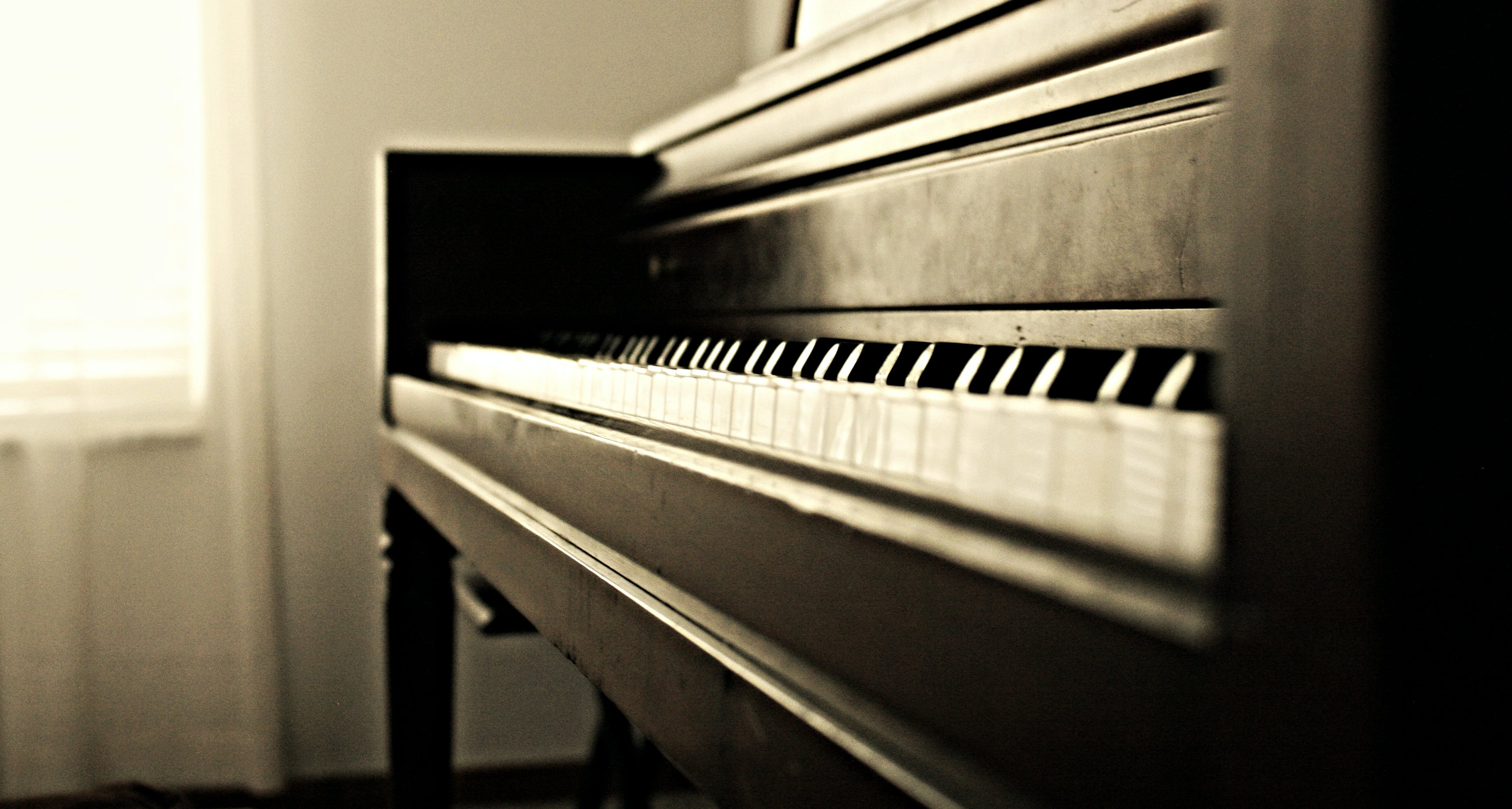 Free stock photo of piano, musical instrument, sepia, monochrome