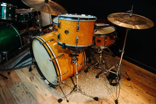 Free stock photo of gold sparkle, leedy and ludwig, vintage drum kit