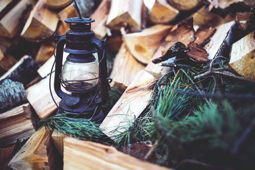 Kerosene lamp on the wood