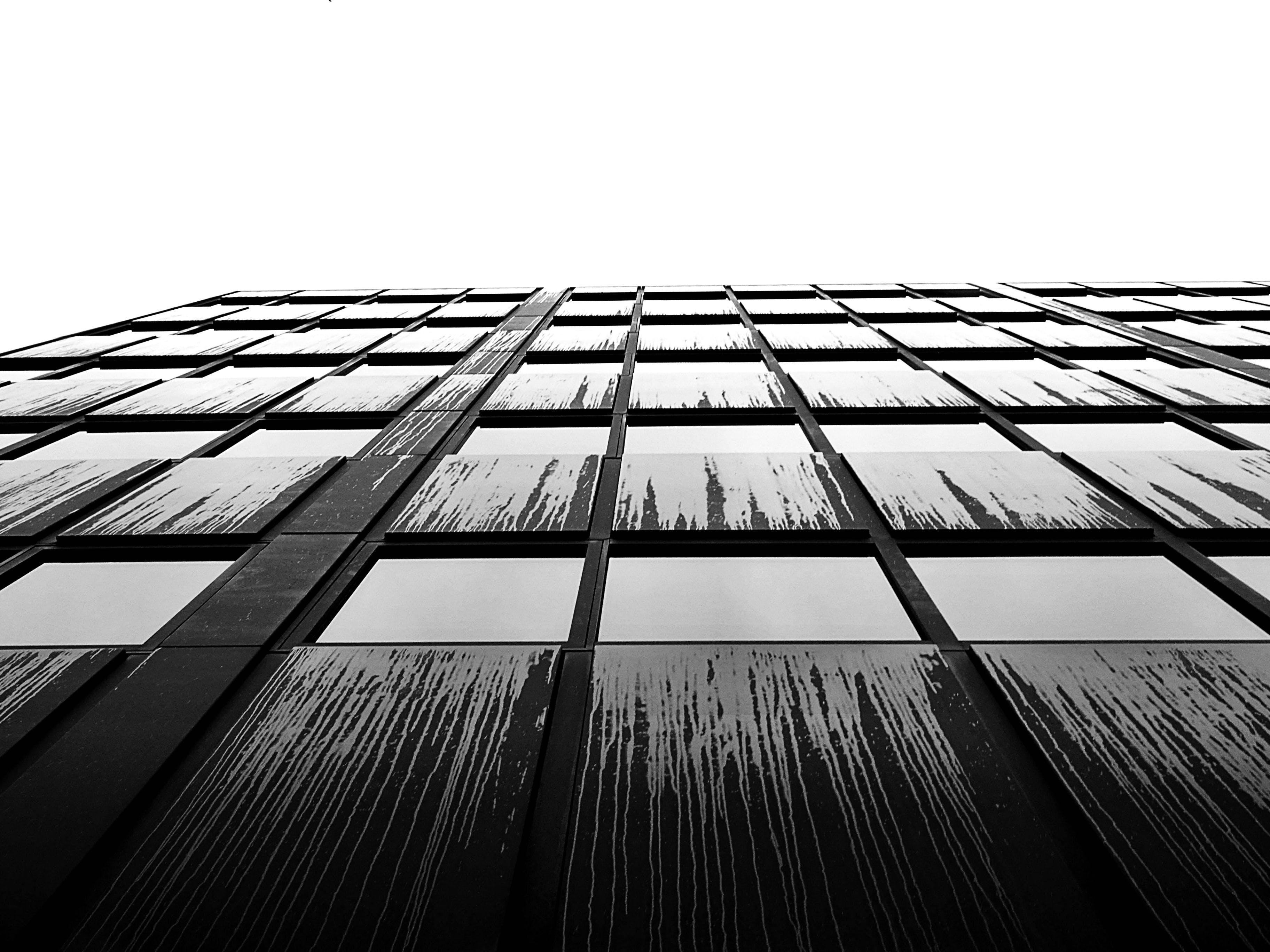 Grayscale Photo of Building Facade